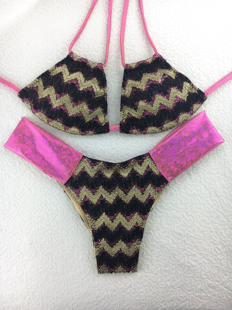 Gold Black Fuchsia Band Bikini Midcoverage cheeky(provide height and weight to size bottoms accordingly).