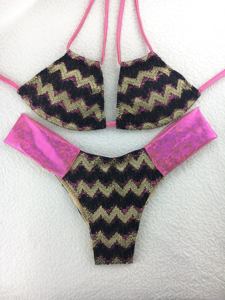 2017 Gold Black Fuchsia Band Bikini Midcoverage cheeky(provide height and weight to size bottoms accordingly).