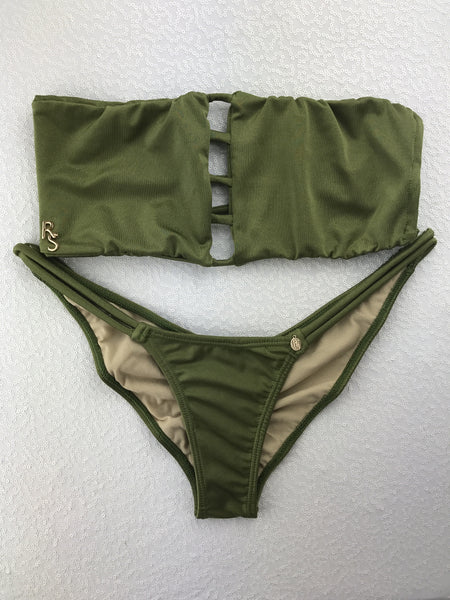 2018 Olive Army Green Vixen Seamless Bikini Midcoverage Cheeky (we size bottoms to your measurements)
