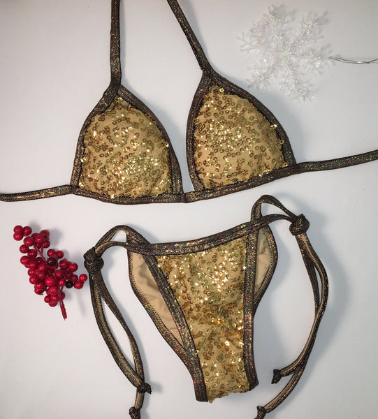 2017 Gold Sequin Tie String Pool Party Bikini/Micro Cheeky as seen on Katy Hearn Fit