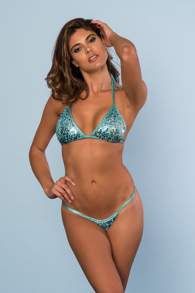 2017 Sparkle Jade Sequin Pool Party Bikini Micro Cheeky