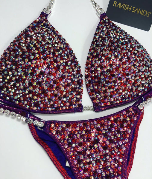 Custom Competition Bikinis Cranberry red  w/molded cup
