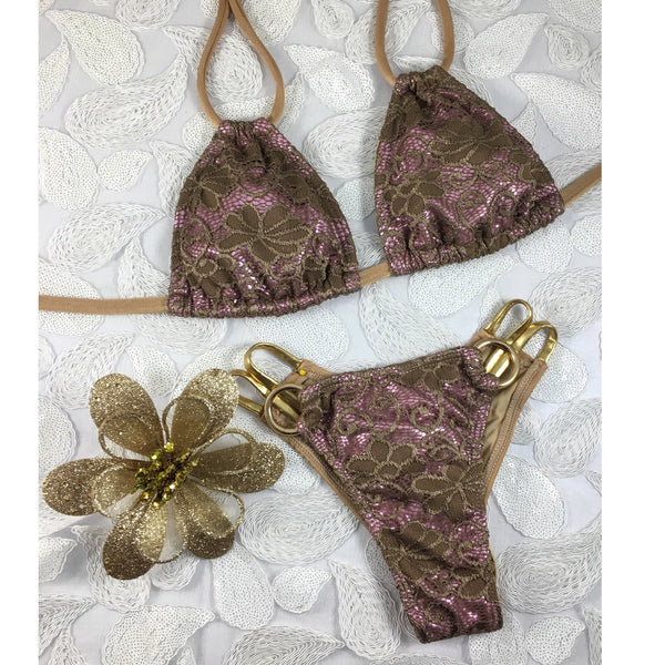 2017 Tan/Rose Floral Lace Loop Bikini Midcoverage Cheeky(we size bottoms to your measurements)