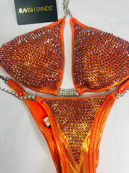 Custom Bombshell Bling orange Luxe (ALL COLOR AB)Competition Bikini