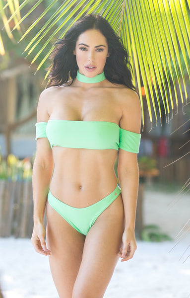 Quickship Mint Green Bombshell Off the Shoulder Seamless Highwaisted Bikini w/choker fits B-D Cup Top Sizes/Brazilian NO Scrunch Butt(Hope)