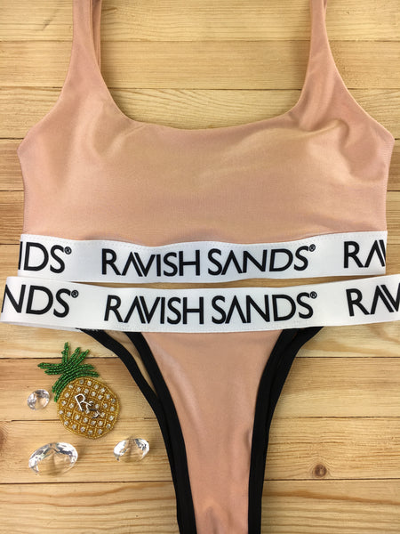 Custom Plunge Neck Bralette Ravish Sands Exclusive Logo Monogram band (Any color request welcome)***(SUIT SOLD PER PIECE OR SET, price varies)