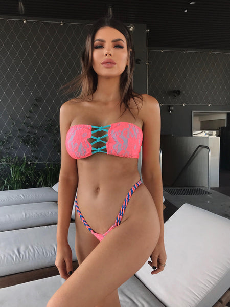 2018 Coral Turquoise Floral Lace Crisscross 2:1 Flip It Reversible Bikini Midcoverage Cheeky (Nicole Thorne)