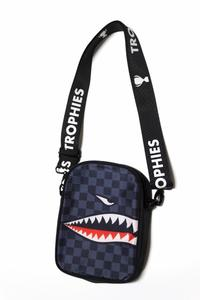 Trophies Sharkmouth Checkered Grey Sling Bag Unisex