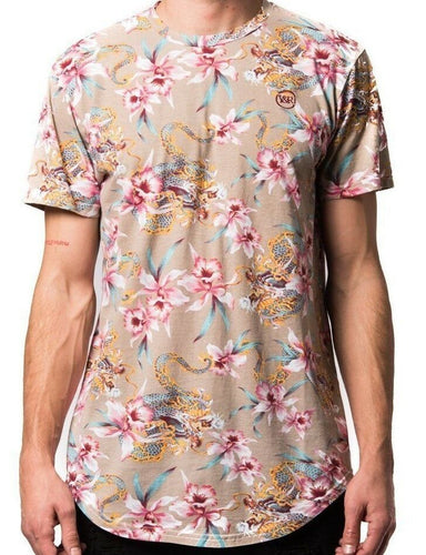 Young & Reckless Monstruo Elongated Short Sleeve Tee Mens Beige