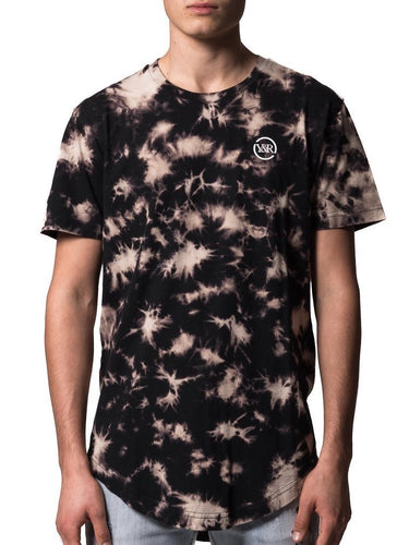 Young & Reckless Mini Scallop Short Sleeve Tee Mens Black Bleach