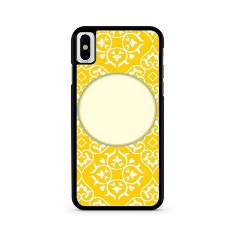 Bright Yellow And Blue Pattern Monogrammed iPhone X case