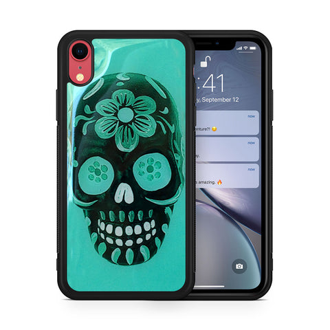 Floral Sugar Skull Turquoise iPhone XR case