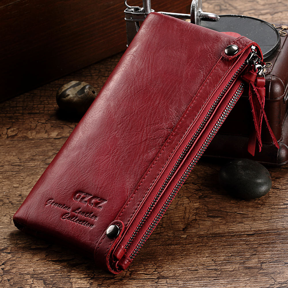 Women's Vintage Genuine Leather Zipper Long Wallets