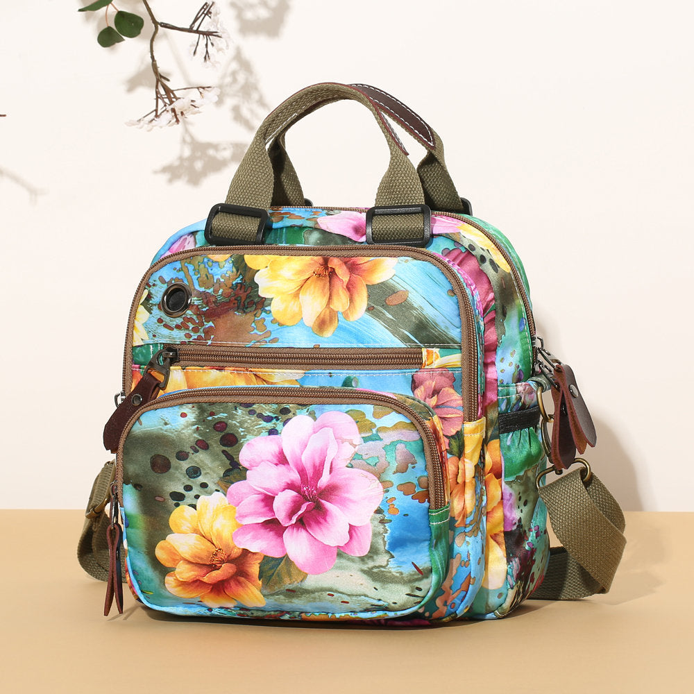 Women's Outdoor Casual  Flower Pattern  Backpack  Shoulder Bags