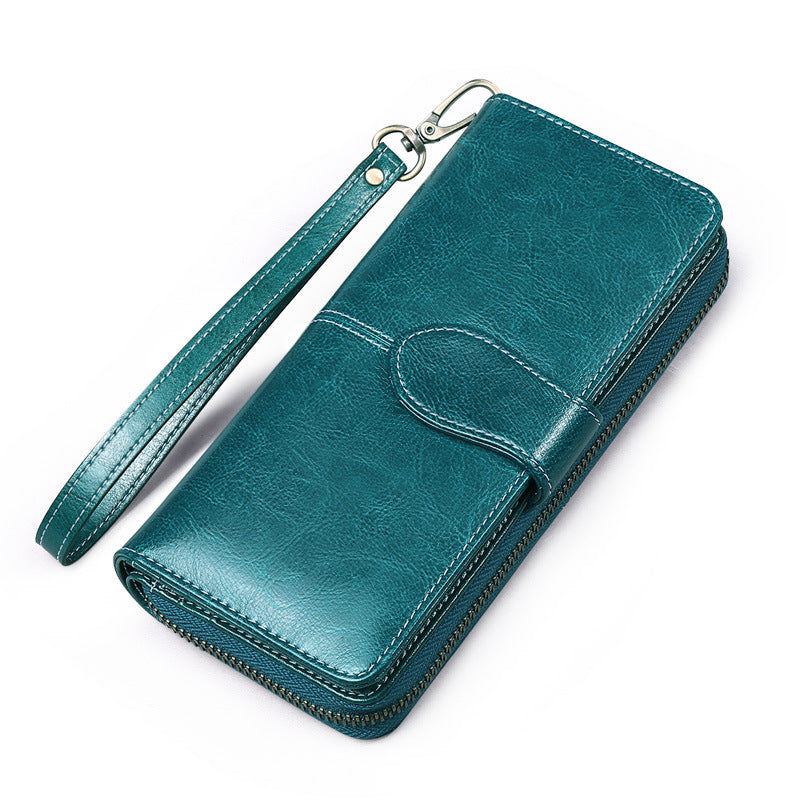 Women's Vintage Leather Solid Color Long Wallets