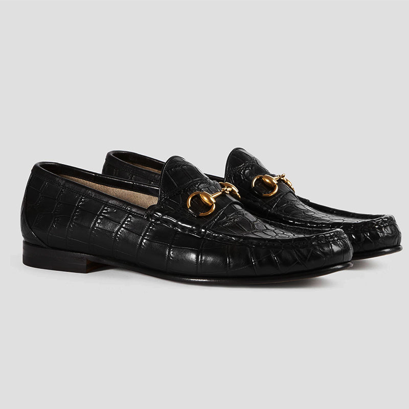 Fashion Men's Buckle Crocodile Pattern Loafers