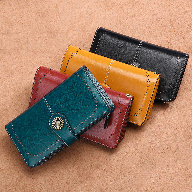 Women's Zipper Genuine Leather Large Capacity Long Wallet Clutch