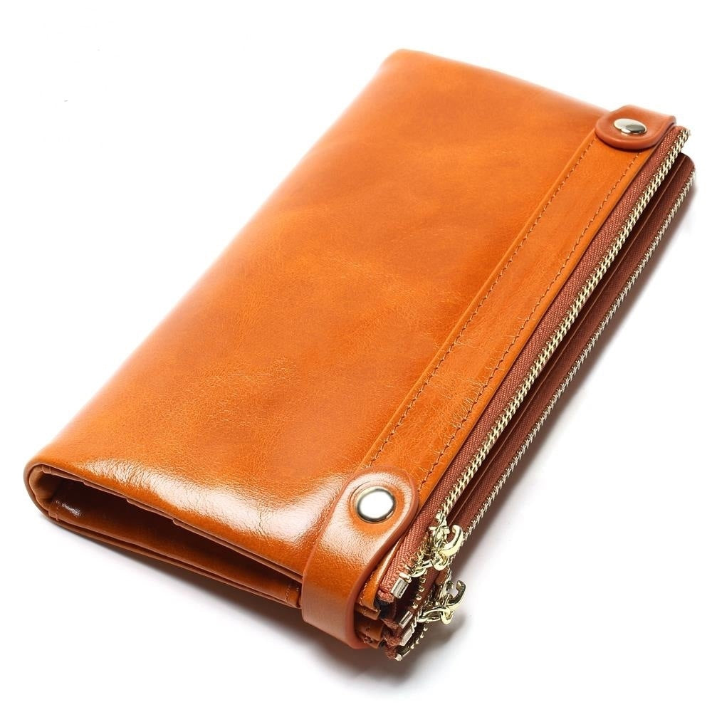 Women's Vintage Genuine Leather Long Buckle Wallets