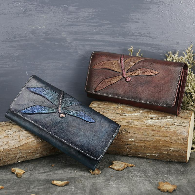 Women's Vintage Genuine Leather Dragonfly Long Wallets