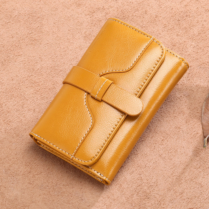 Women's Short Vintage Genuine Leather Coin Purse Wallets