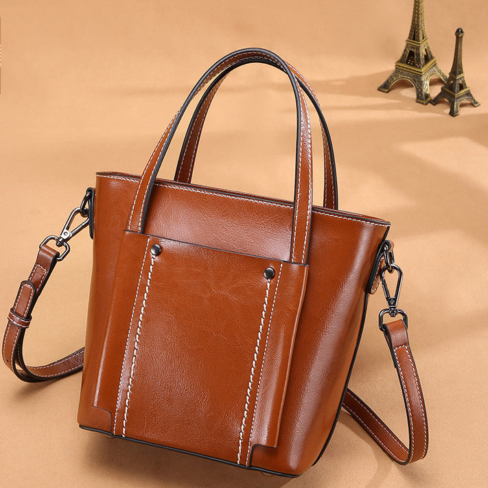 Retro Genuine Leather One-Shoulder Diagonal Handbag