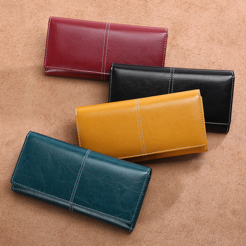 Women's Large Capacity  Zipper Genuine Leather Long Wallet