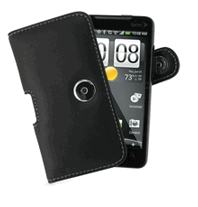 HTC EVO 4G Monaco Horizontal Pouch Type Leather Case - Black