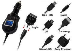 Universal Elite LCD Car Charger With 7 Different Connectors
