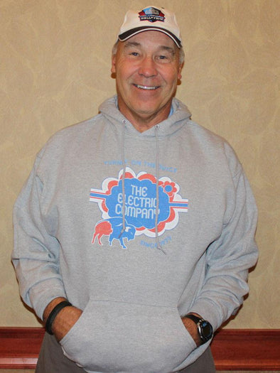 Sweatshirt Hoody, Athletic Heather (50% cotton, 50% polyester) Modeled by Joe DeLamielleure