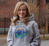 Sweatshirt Hoody, Oxford (50% cotton, 50% polyester) Modeled by Erica Brecher, WIVB-TV