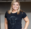 Ladies T-Shirt, Black (100% cotton) Modeled by Gabrielle Mediak, Channel 4