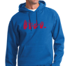 Unisex Hoody, Red on Royal (50% cotton, 50% polyester)