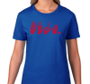 Ladies T-Shirt, Red on Royal (100% cotton)
