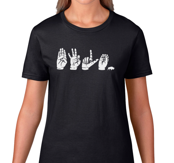 Ladies T-Shirt, White on Black (100% cotton)