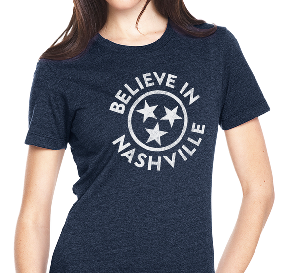 Ladies T-Shirt, Heather Navy (60% cotton, 40% polyester)