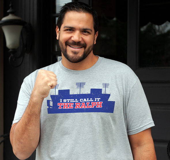 "Unisex Tee, Dark Heather Gray: 60% cotton, 40% polyester (modeled by ""Baby"" Joe Mesi)"