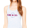 Ladies Flowy Racerback Tank, Blue Marble (91% polyester, 9% cotton)