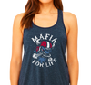 Ladies Flowy Racerback Tank, Heather Navy (65% polyester, 35% viscose)