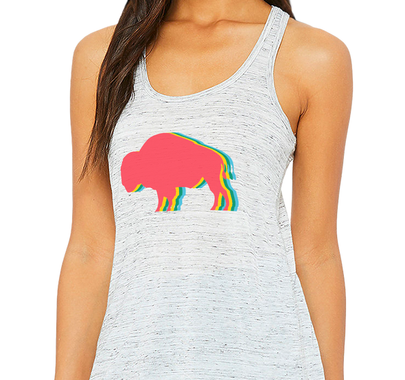 Ladies Racerback Tank, White Marble (91% polyester, 9% cotton)
