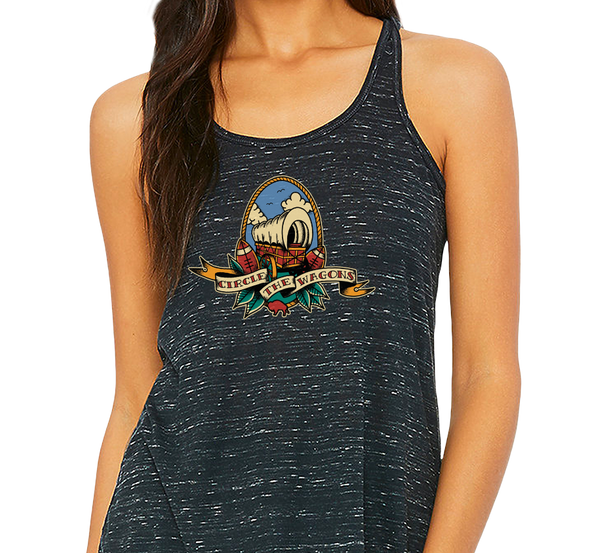 Ladies Racerback Tank, Black Marble (91% polyester, 9% cotton)