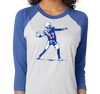 Tri-Blend Raglan, Vintage Royal/Heather White (50% polyester, 25% cotton, 25% rayon)