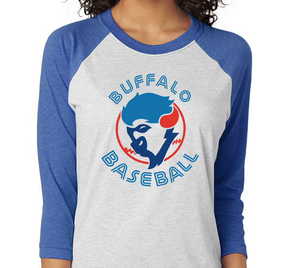 Unisex Tri-Blend Raglan, Heather White / Vintage Royal (50% polyester, 25% cotton, 25% rayon)
