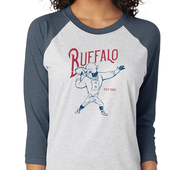 Tri-Blend Raglan, Navy/Heather White (50% cotton, 25% polyester, 25% rayon)