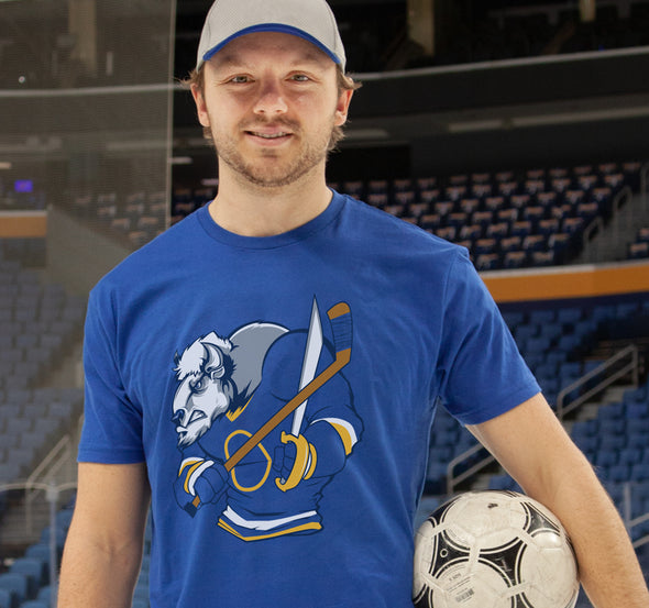 Unisex T-Shirt, Royal (100% cotton) Modeled by Sam Reinhart