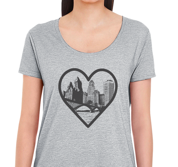 Ladies Scoop, Heather Gray (90% cotton, 10% polyester)