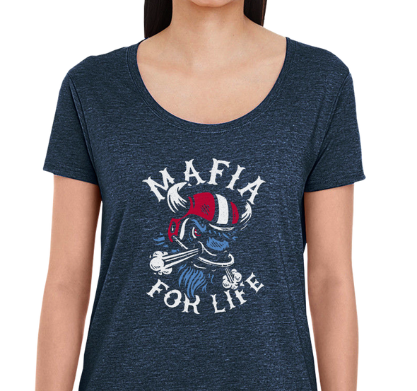 Ladies Scoop, Heather Navy (65% cotton, 35% polyester)