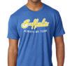 Tri-Blend T-Shirt, Gold on Vintage Royal (50% polyester, 25% cotton, 25% rayon)