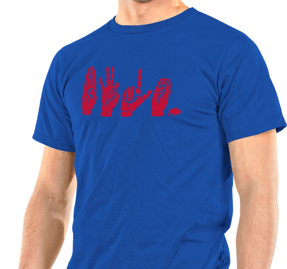 Unisex T-Shirt, Red on Royal (100% cotton)