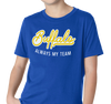 Youth T-Shirt, Gold on Royal (100% cotton)