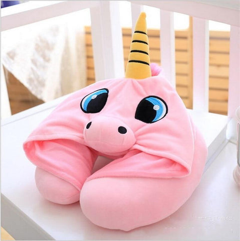 Hooded Unicorn Travel Pillow - Great Gadgets